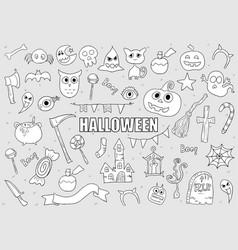 Halloween drawings set of design elements doodles vector