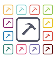 hammer flat icons set vector image
