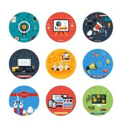 Icons for web design seo social media vector image vector image