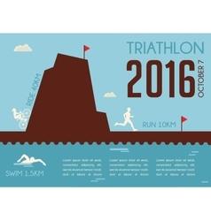 Retro triathlon competition poster Championship vector image vector image