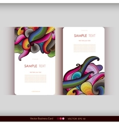 Set of two abstract hand-drawn waves cards vector image vector image