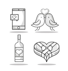 Set smartphone with heart and couple dove lover vector