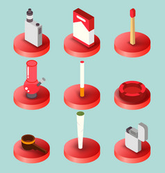 smoking flat isometric set vector image