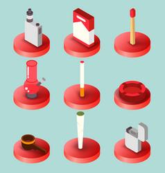 Smoking flat isometric set vector