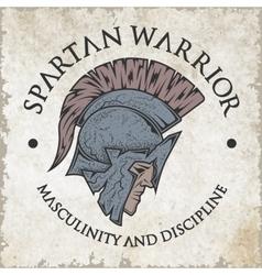 Spartan warrior emblem vintage style vector