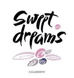 Sweet dreams card Hand drawn lettering art vector image