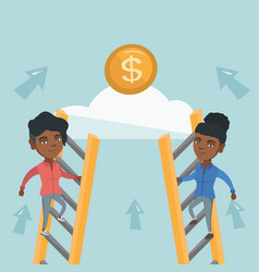 Two young business woman competing for money vector