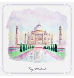 Watercolor taj mahal picture greeting card vector