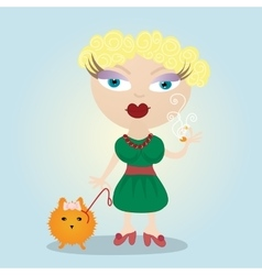 Woman girl and a little dog vector