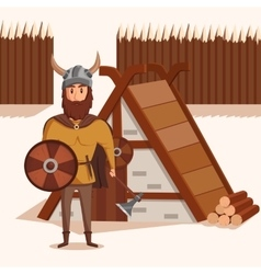 Viking with helmet horns and axe shield near vector
