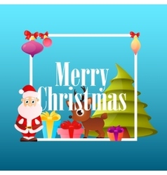 Poster christmas with santa claus vector