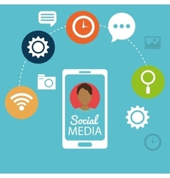Mobile phone man social media networking vector