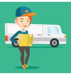 Delivery courier carrying cardboard boxes vector