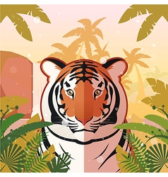 Tiger on the jungle background vector