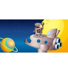 A robot above the spaceship in the outerspace vector