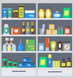 Pharmacy shelves background vector