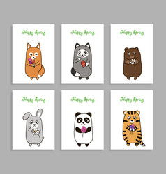 funny animals hand drawn picture with vector image