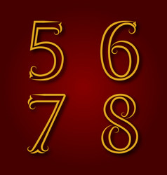 five six seven eight vintage numbers vector image