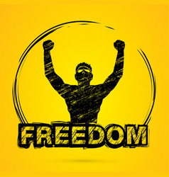freedom man the winner graphic vector image