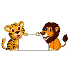 Cute lion and tiger cartoon with blank sign vector