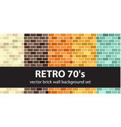 Brick pattern set retro 70s seamless brick vector
