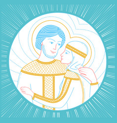 In russia icon peter and fevronia vector