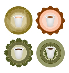 Four type of coffee in disposable cups label vector