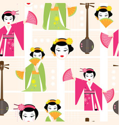 Bright seamless pattern with a dancing geisha vector