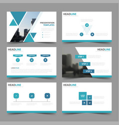 Blue triangle presentation templates infographic vector