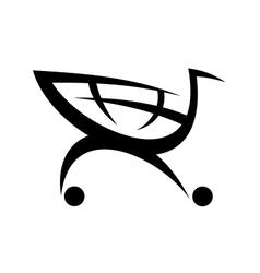 Black symbol of a shopping cart vector