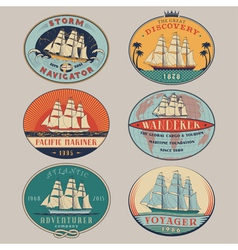 Nautical labels color vector