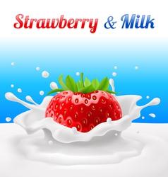 Strawberry in milk vector image
