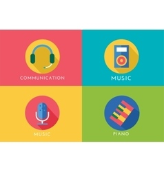 Music logo icons set player piano sound vector
