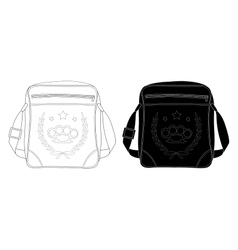 Urban teenager shoulder bag with print contour vector