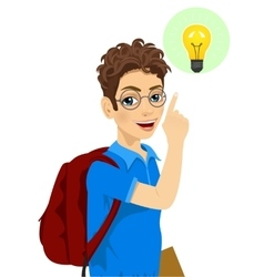 Young teenager student boy pointing to light bulb vector