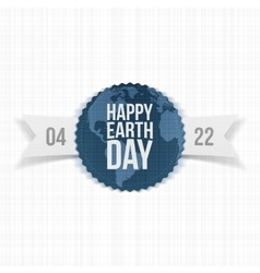Earth day festive label with ribbon vector