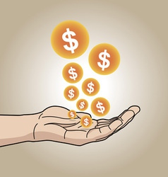 Dollars on hand vector image
