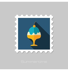 Ice cream flat stamp summer vacation vector