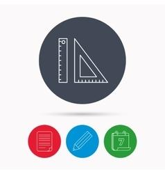 Triangular ruler icon straightedge sign vector