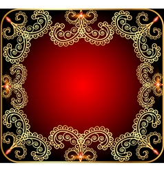 background with the frame with gold ornament vector image vector image