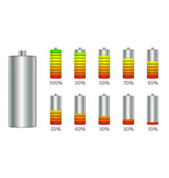 Battery charge level indicators with gradient set vector