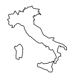 Black contour map of Italy vector image vector image