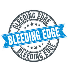 Bleeding edge round grunge ribbon stamp vector