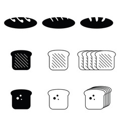 Bread food fresh set vector