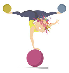 cartoon woman woman do exercises with the balls vector image vector image