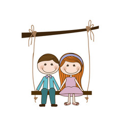 Colorful caricature couple sit in swing hanging vector