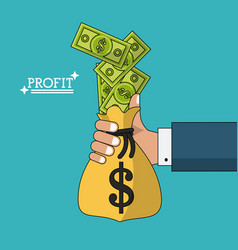 Colorful poster with hand holding profit money in vector