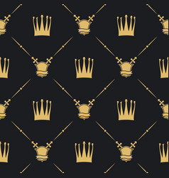 crown with sword and shield seamless pattern vector image vector image