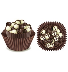 Dark and white chocolate in cup vector