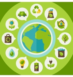 Ecology infographic with environment icons vector image vector image